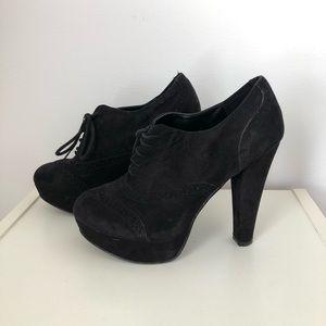 Black lace up bootie heels